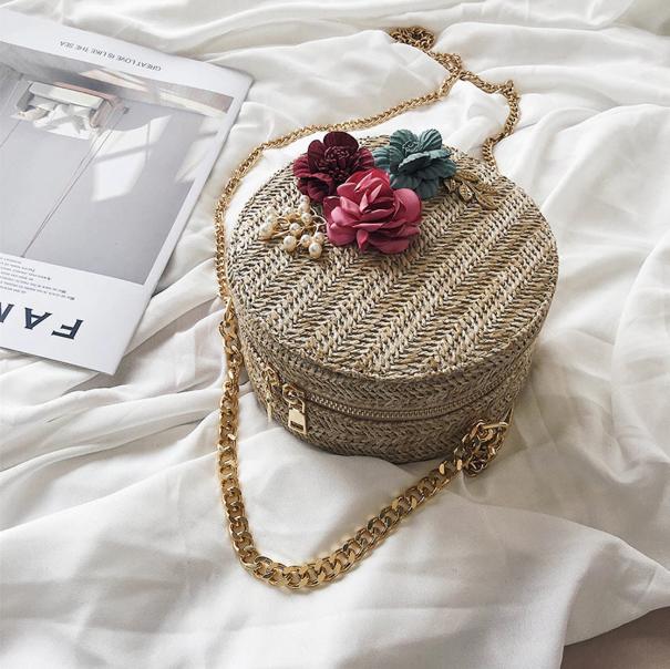 sac en osier rond à bandoulière - Flower Bag à plat