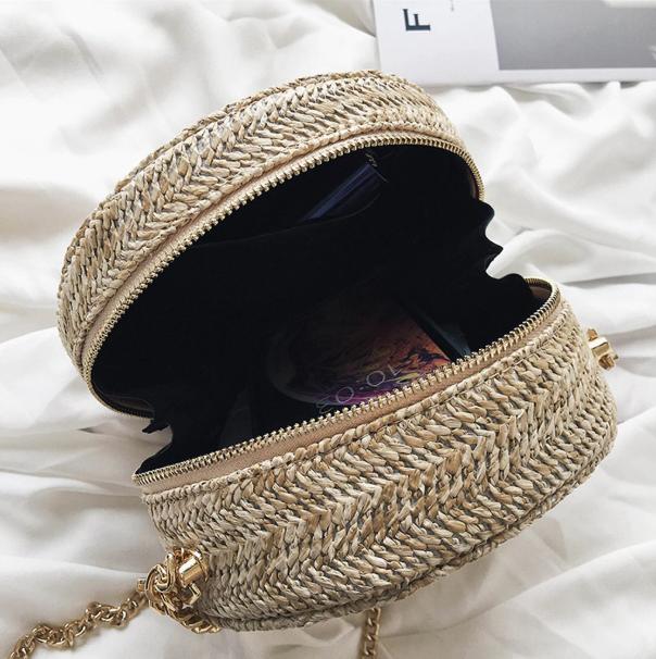 sac en osier rond à bandoulière - Flower Bag intérieur