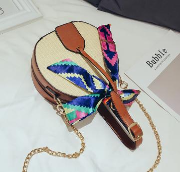 sac osier à bandoulière - Multicolors Bag à plat