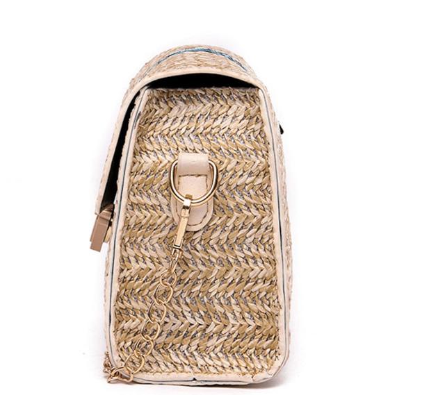 sac osier rectangulaire à bandoulière - Elegant Bag côté