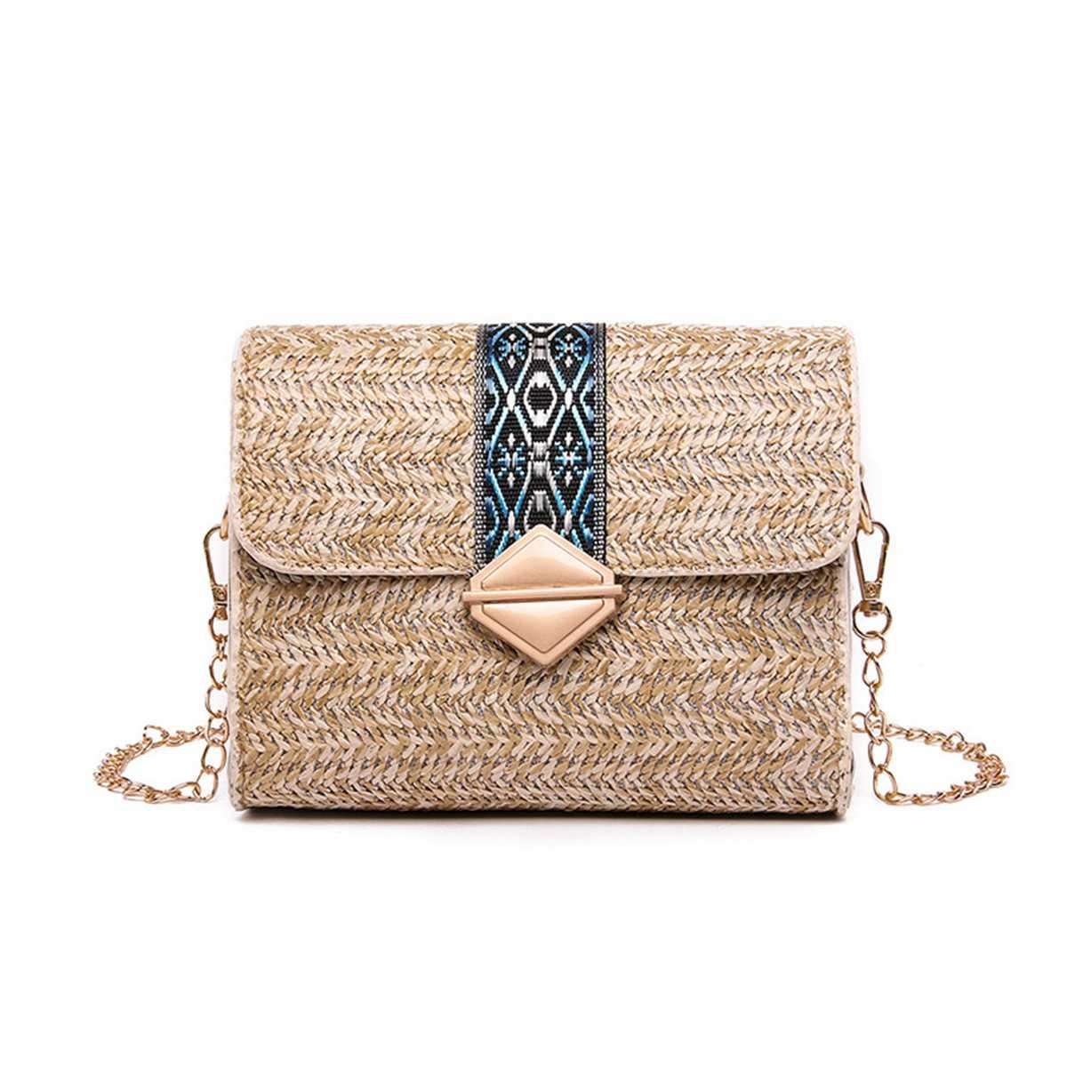 sac osier rectangulaire à bandoulière - Elegant Bag