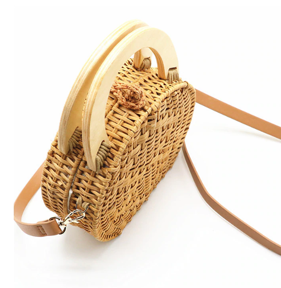 sac osier rond à bandoulière - Circle bag vue de haut