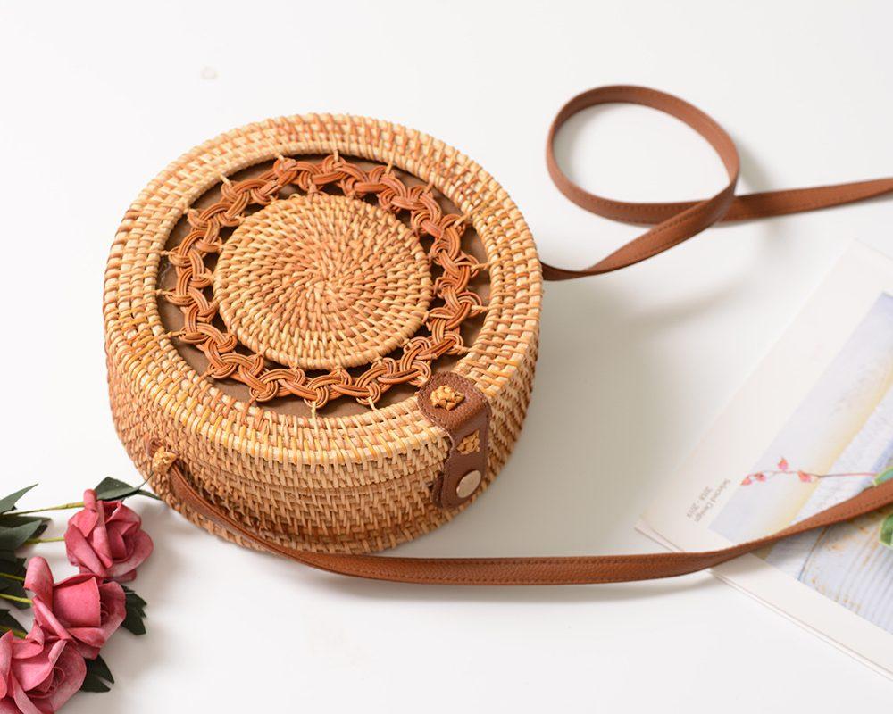sac osier rond à bandoulière - Shamballa Bag