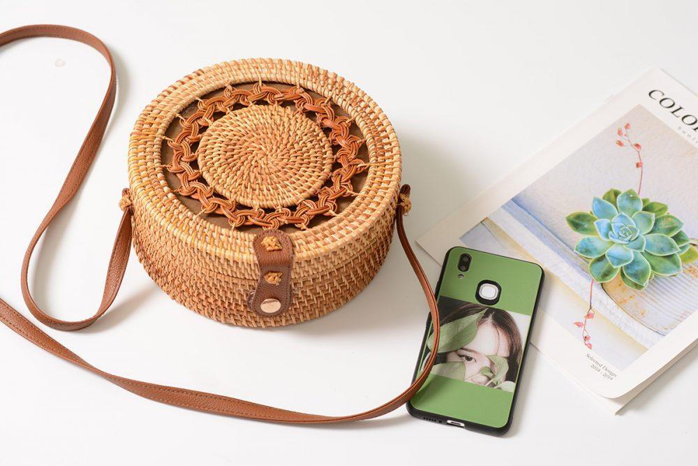 sac osier rond à bandoulière - Shamballa Bag décor