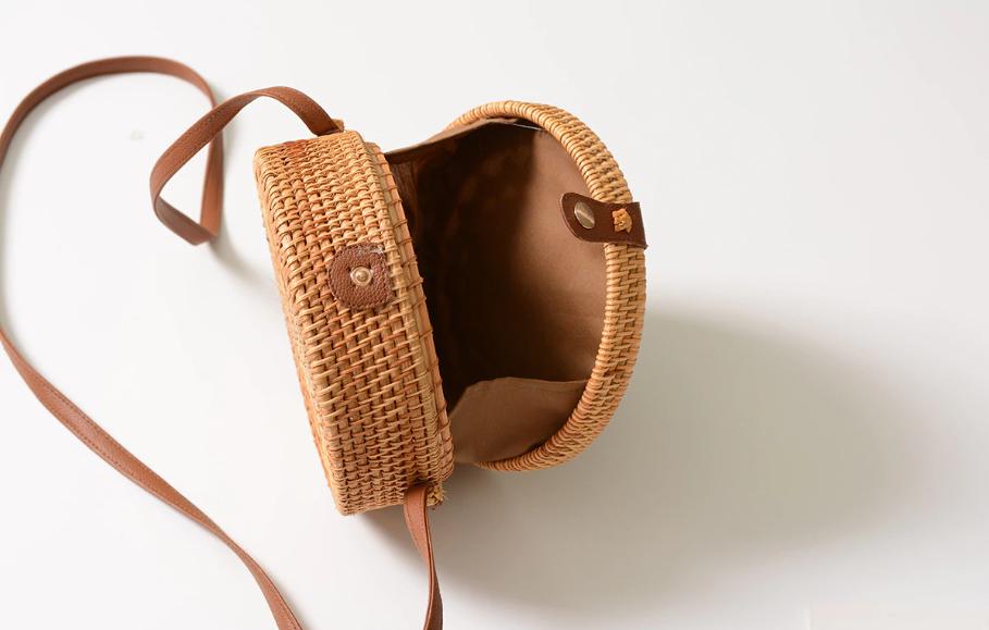 sac osier rond à bandoulière - Shamballa Bag intérieur