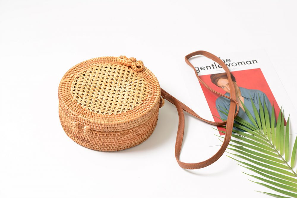 sac osier rond à bandoulière - Simple Style