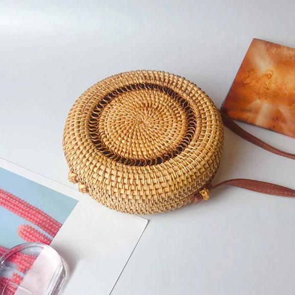 sac osier rond bandoulière - Bali Design décor
