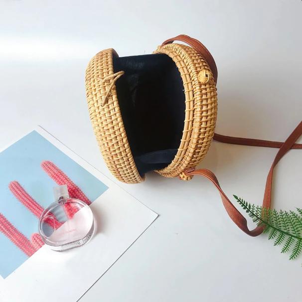 sac osier rond bandoulière - Bali Design intérieur