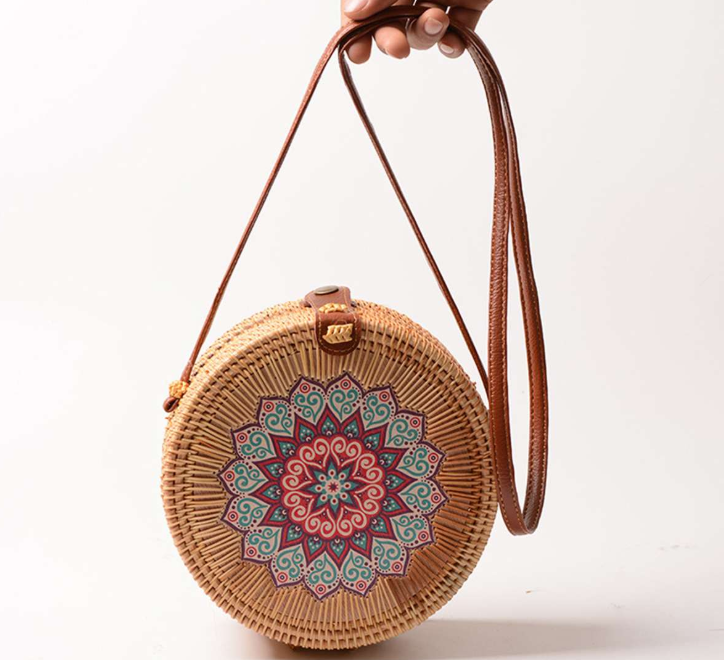 sac osier rond à bandoulière - Pink Mandala