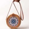 sac osier rond à bandoulière - blue mandala flower