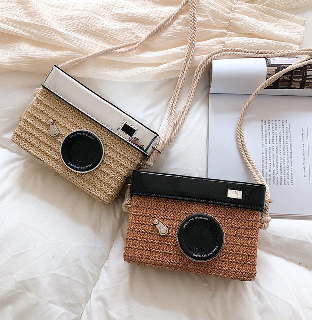 Sac osier carré camera bag