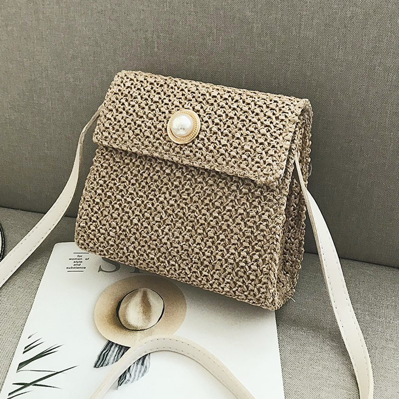 Sac osier carré pearl bag beige