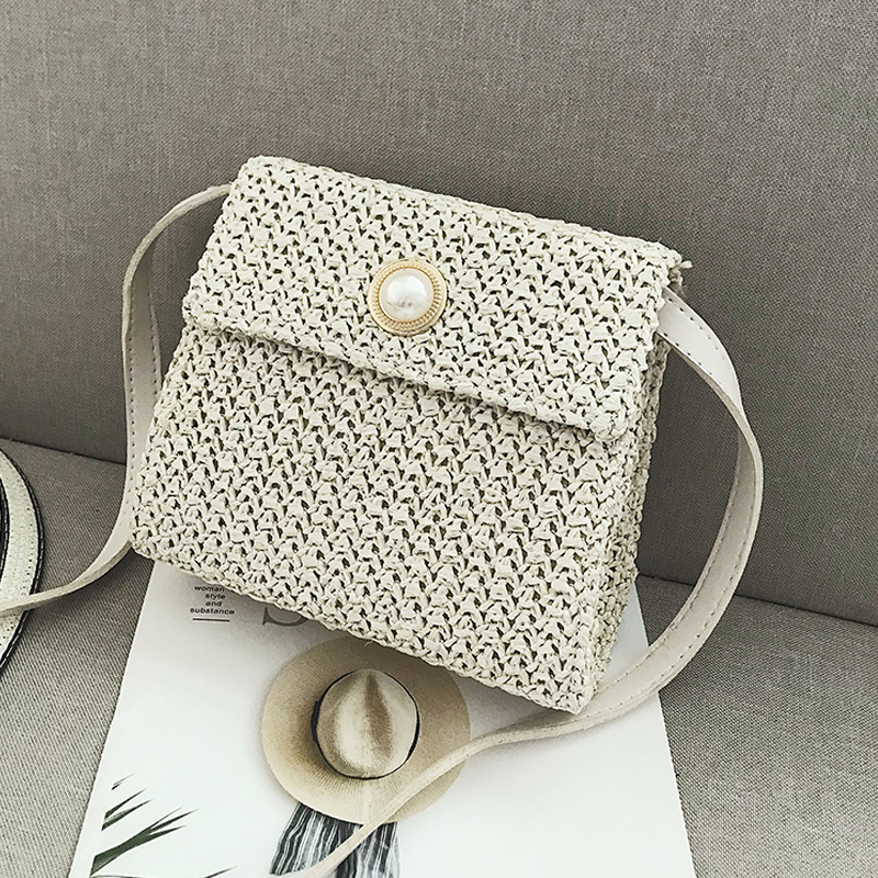 Sac osier carré pearl bag blanc