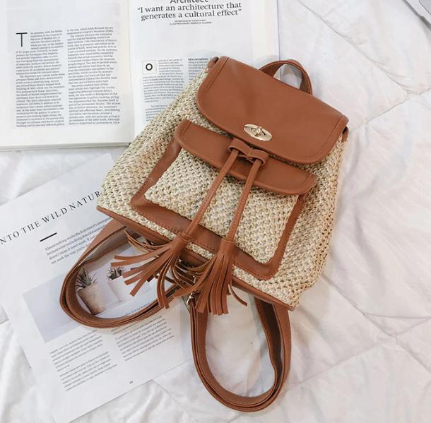 sac à dos osier - pompom bag marron