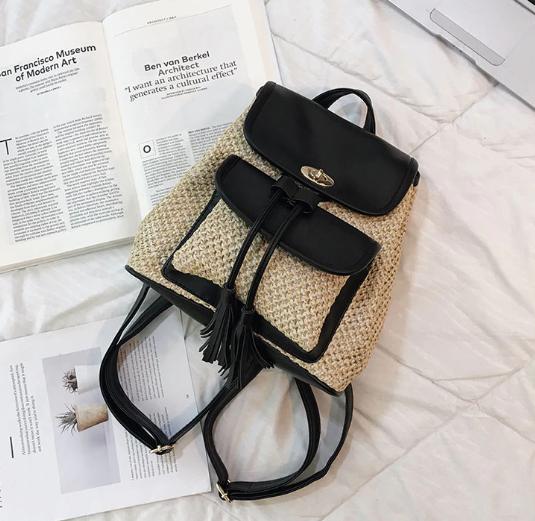sac à dos osier - pompom bag noir