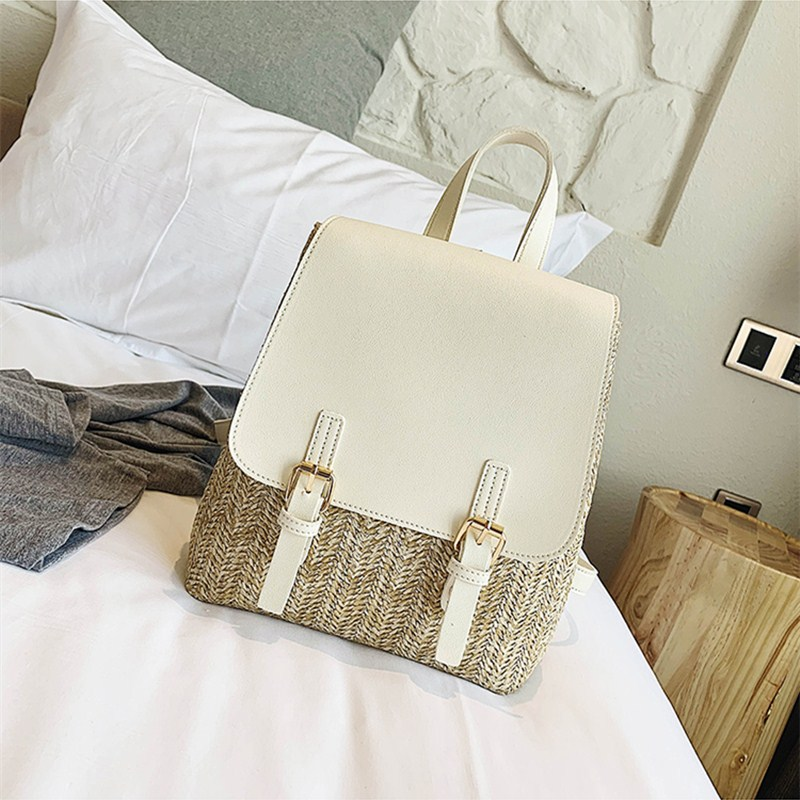 sac à dos en osier chic bag blanc