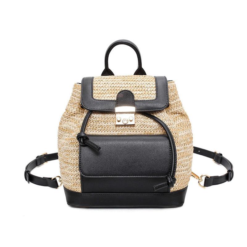 sac à dos en osier school bag noir et blanc