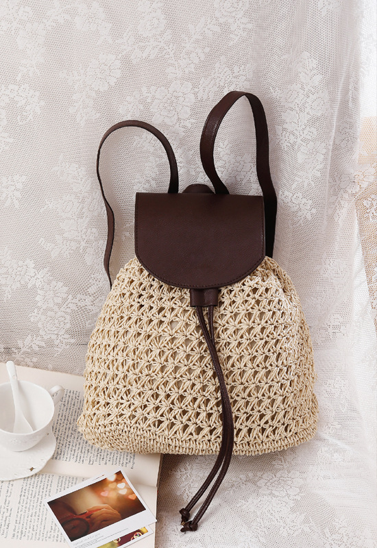 sac à dos osier decontracted style beige