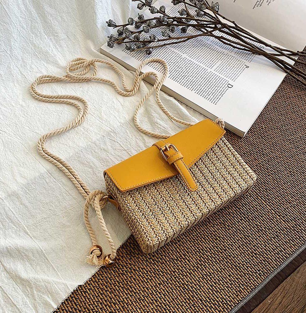 sac osier carré bohème style jaune