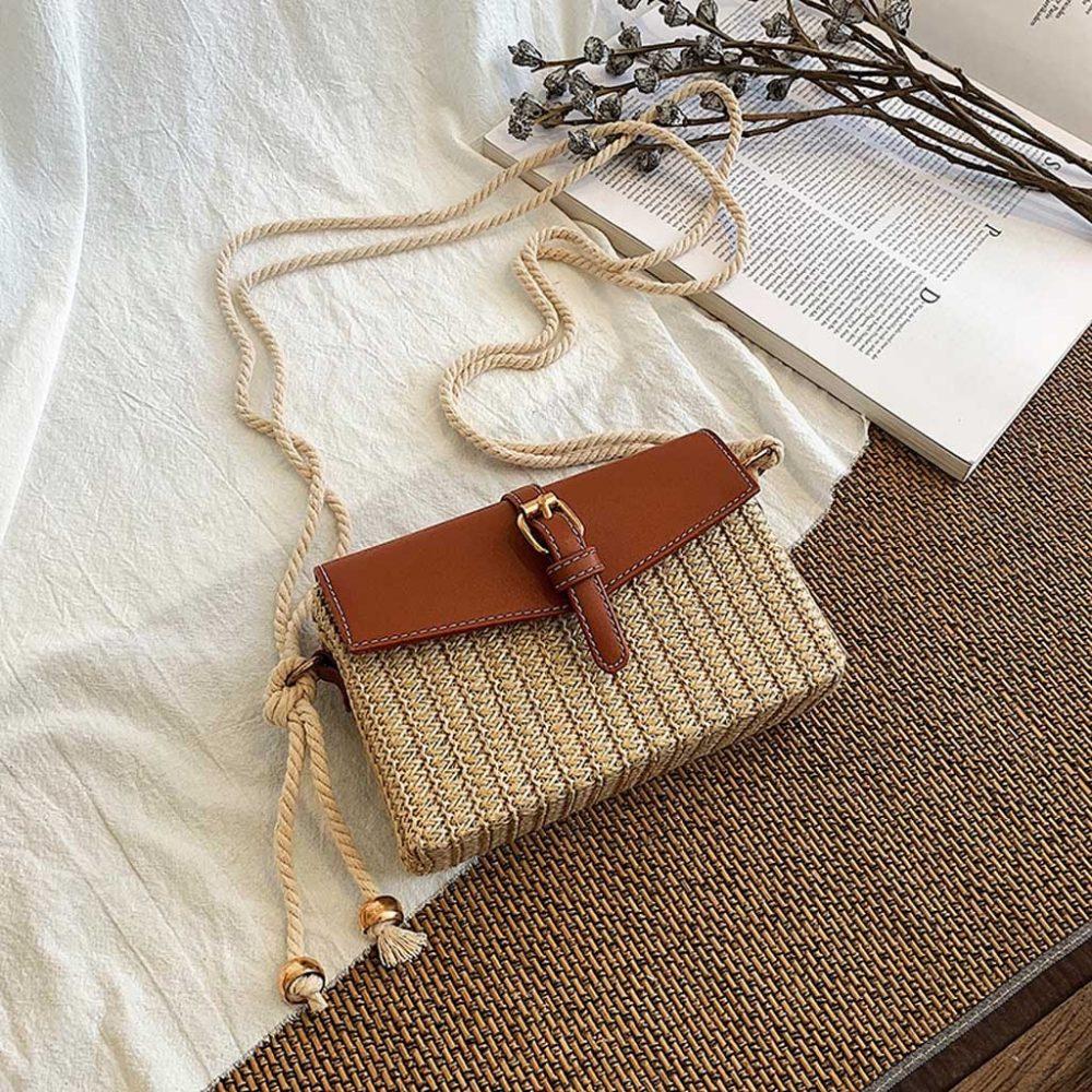 sac osier carré bohème style marron