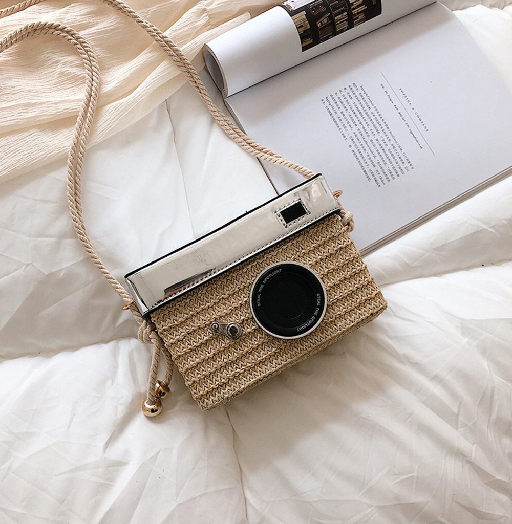sac osier carré camera bag argent