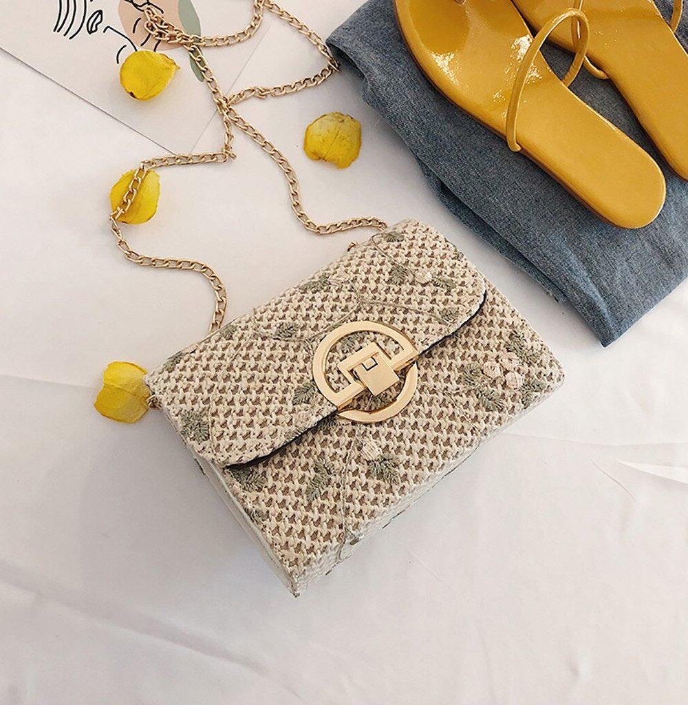 sac osier carré style vintage blanc