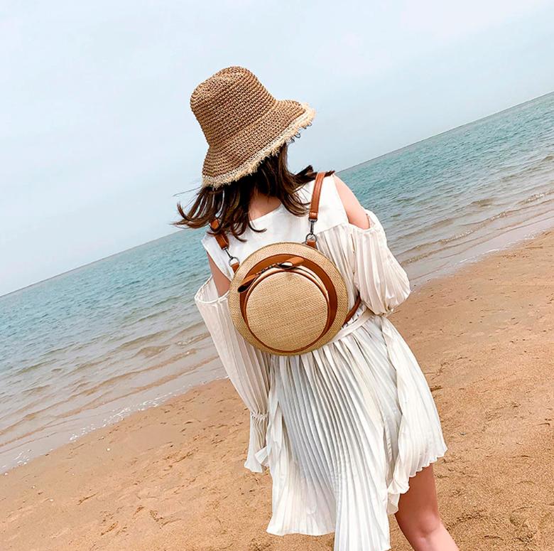 Sac en osier à bandoulière 2en1 - Style Chapeau porté dos