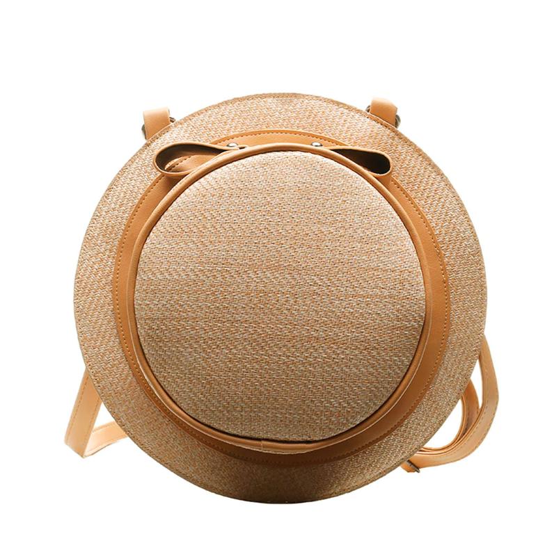 Sac en osier à bandoulière 2en1 - Style Chapeau marron clair