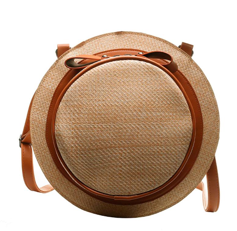 Sac en osier à bandoulière 2en1 - Style Chapeau marron foncé