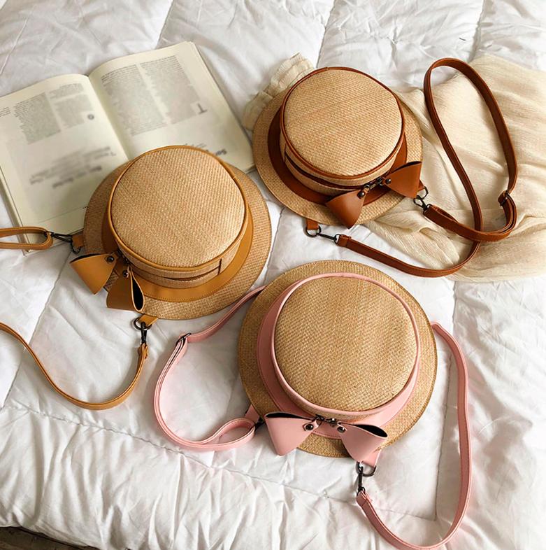 Sac en osier à bandoulière 2en1 - Style Chapeau
