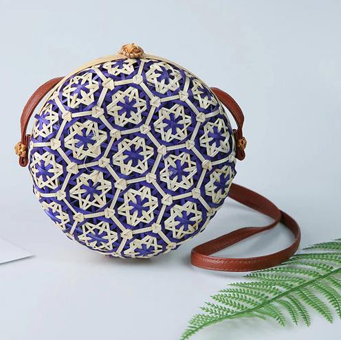 sac osier rond à bandoulière full colors violet