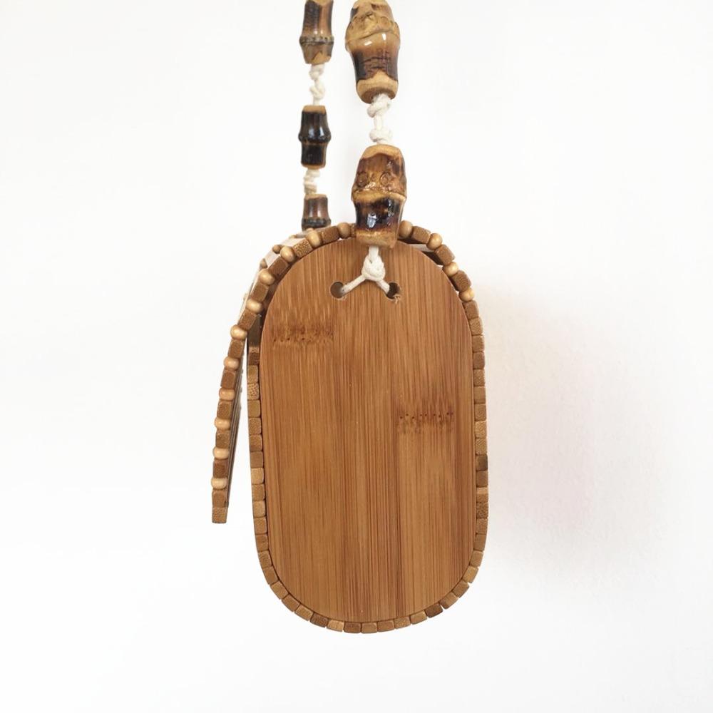 sac osier carré à bandoulière - Bamboo chic côté