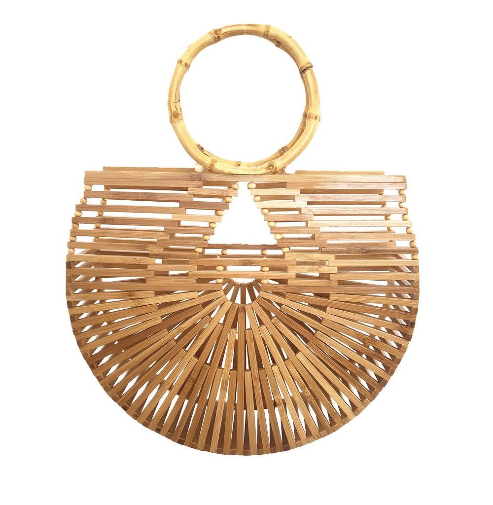 sac osier de plage - bamboo style L