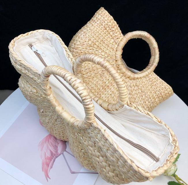 sac osier de plage - half flower zipper