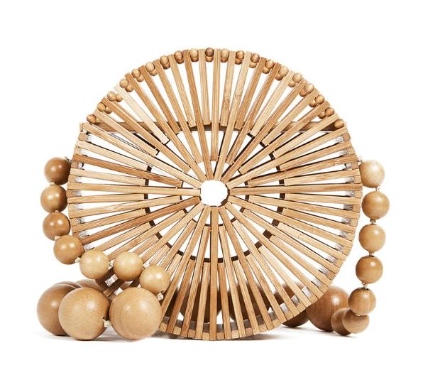 sac osier rond à bandoulière - Bamboo bag naturel